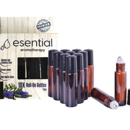 Set de 10 sticluțe ROLL-ON 10 ml, maro, Anti-UV, bilă metalică din INOX